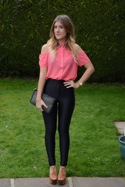 Coral_Cutout_Chiffon_Shirt_Disco_Pants_American_apparel_GillianRose_Gillian Rose_Studs